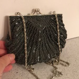 Pewter gray beaded evening bag clam shell shaped